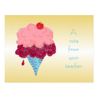 先生の郵便はがきからのアイスクリーム学生の歓迎 ポストカード