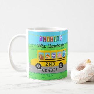 先生は名前をカスタムする かわいいバス動物感謝していしています コーヒーマグカップ