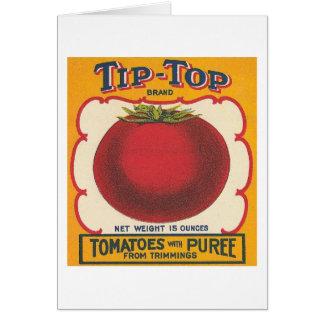 先端トップのトマトのヴィンテージのラベル カード