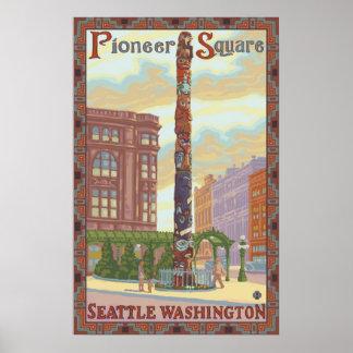 先駆的正方形-シアトルのWAのトーテムポールポスター ポスター