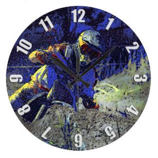 先駆者のモトクロスのライダー ラージ壁時計