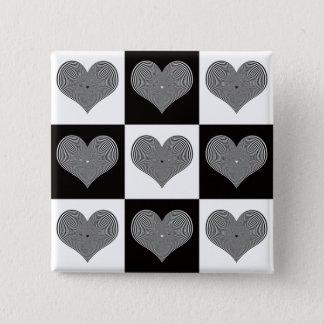 光学バレンタインボタン 5.1CM 正方形バッジ