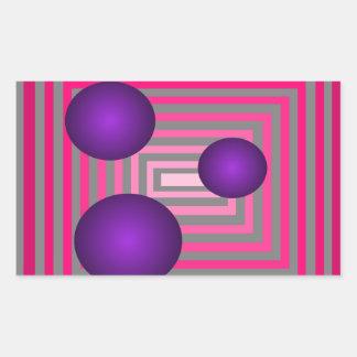光学ピンクの紫色の灰色の芸術の錯覚 長方形シール