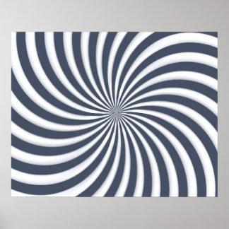 光学芸術の螺線形は三角形05を曲げます ポスター