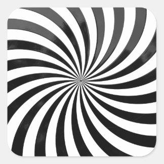 光学詐欺黒い及び白のストライプ スクエアシール