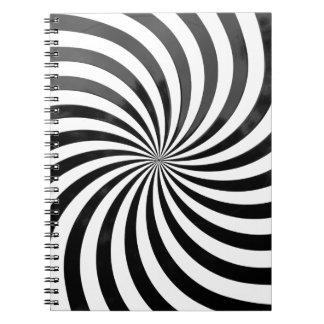 光学詐欺黒い及び白のストライプ ノートブック