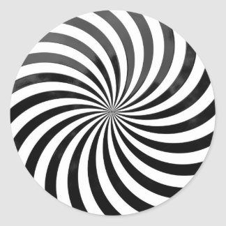 光学詐欺黒い及び白のストライプ ラウンドシール