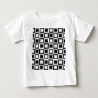 光学3Dチェス盤の錯覚の白黒の灰色 ベビーTシャツ