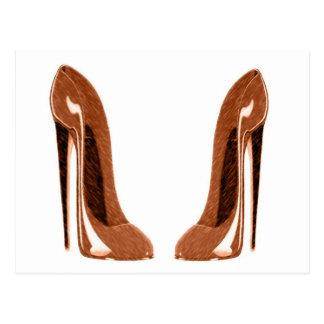 光沢があるオレンジ斑入りの小剣の靴 ポストカード