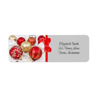 光沢があるクリスマスはオーナメント-金ゴールドの赤ぴかぴか光りました 返信用宛名ラベル