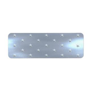 光沢があるブラシをかけられた星の金属質 ラベル