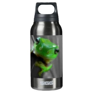 光沢がある緑カエル 断熱ウォーターボトル