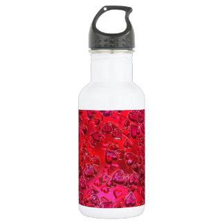光沢がある赤いハート ウォーターボトル