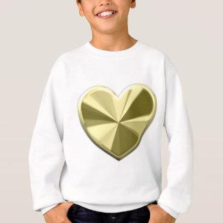 光沢がある金ゴールドのハート スウェットシャツ