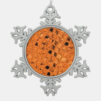 光沢がある金属オレンジダイヤモンドののどの蛇紋岩 スノーフレークピューターオーナメント