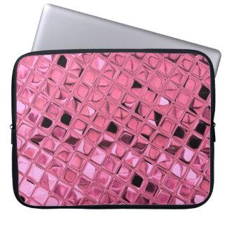 光沢がある金属ガーリーなピンクのダイヤモンドの鏡のいくじなし ラップトップスリーブ
