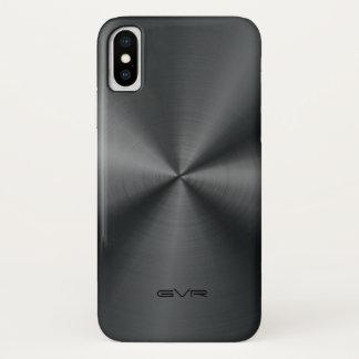 光沢がある金属黒いステンレス鋼の一見 iPhone X ケース