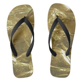 光沢がある黒い金ゴールドのビーチのビーチサンダルの夏 ビーチサンダル