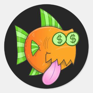 光沢のあるお金の空腹な魚のクラシックな円形のステッカー ラウンドシール
