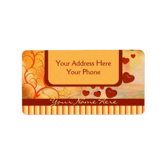 光沢のあるキャンデーの赤いオレンジハートの木の華麗さの黄色 ラベル