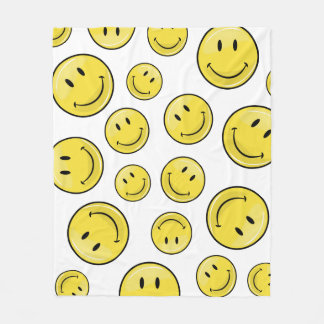 光沢のあるクラシックで黄色く幸せな顔 フリースブランケット