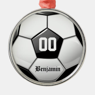 光沢のあるサッカーボール メタルオーナメント