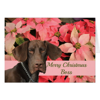 光沢のあるハイイログマのボスのメリークリスマス カード