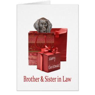 光沢のあるハイイログマの兄弟及び義理の姉妹メリーなクリス カード
