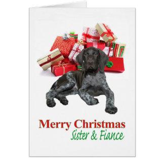 光沢のあるハイイログマの姉妹および婚約者のメリークリスマス カード