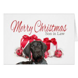 光沢のあるハイイログマの義理の息子のメリークリスマス カード