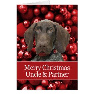 光沢のあるハイイログマ叔父さん及びパートナーのメリークリスマス カード