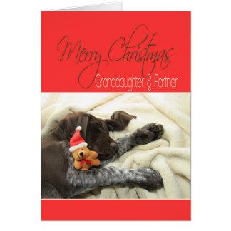 光沢のあるハイイログマ孫娘及びパートナーのメリークリスマス カード