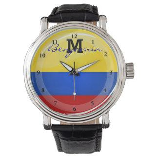 光沢のある円形のアメリカの旗 腕時計
