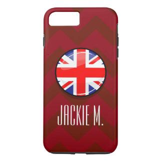 光沢のある円形のイギリスの英国の旗 iPhone 8 PLUS/7 PLUSケース