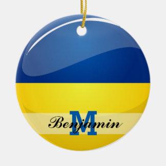 光沢のある円形のウクライナの旗 セラミックオーナメント