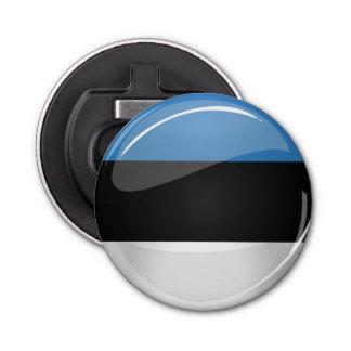 光沢のある円形のエストニア語の旗 栓抜き