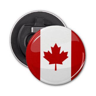 光沢のある円形のカナダの旗 栓抜き