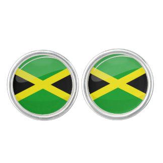 光沢のある円形のジャマイカの旗 カフスボタン
