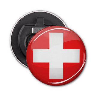 光沢のある円形のスイスの旗 栓抜き
