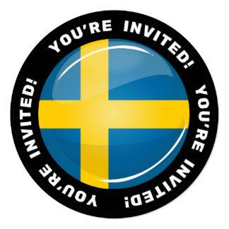 光沢のある円形のスウェーデンの旗 カード