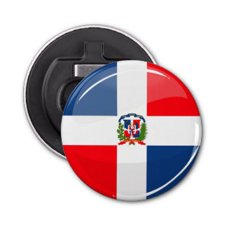 光沢のある円形のドミニコ共和国の旗 栓抜き