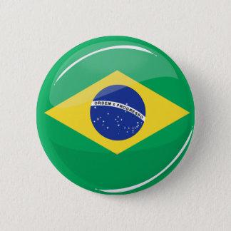 光沢のある円形のブラジルの旗 5.7CM 丸型バッジ