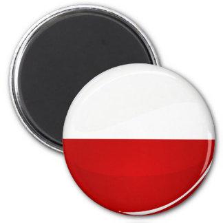光沢のある円形のポーランド人の旗 マグネット