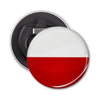 光沢のある円形のポーランド人の旗 栓抜き