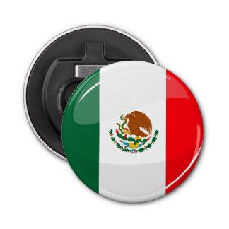 光沢のある円形のメキシコ旗 栓抜き