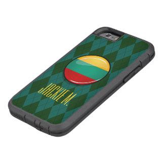 光沢のある円形のリトアニアの旗 TOUGH XTREME iPhone 6 ケース