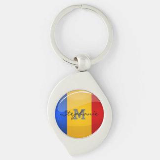 光沢のある円形のルーマニアの旗 キーホルダー