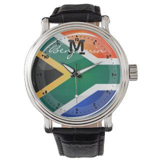 光沢のある円形の南アフリカの旗 ウオッチ