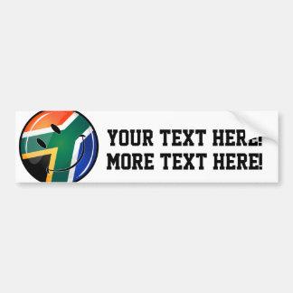 光沢のある円形の幸せな南アフリカの旗 バンパーステッカー