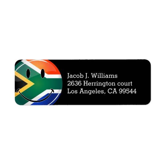 光沢のある円形の幸せな南アフリカの旗 返信用宛名ラベル